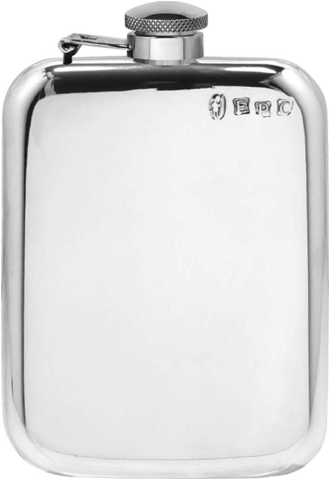 English Pewter Company 6oz Traditional Plain Pewter Liquor Hip Flask mit Captive obere [SF435CT]