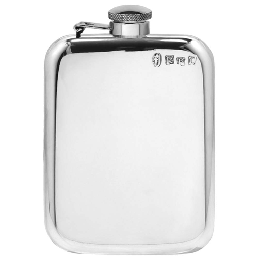 English Pewter Company 6oz Traditional Plain Pewter Liquor Hip Flask With Captive Top [SF435CT]