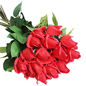 cn-Knight Artificial Flower 12pcs 22'' Artificial Rose Buds with Leaves Gel Coated Silk Flower for Wedding Bridal Bouquet Bridesmaid Home Décor Office Baby Shower Centerpiece,Red 38