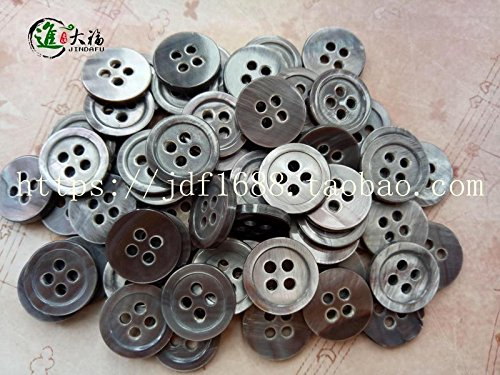 Fubei shell into the big black button-edge 204 small butterfly buckle mother of pearl buttons Beiniu new gray baked shell ornaments DIY button for Sewing Crafts Handmade Clothes DIY
