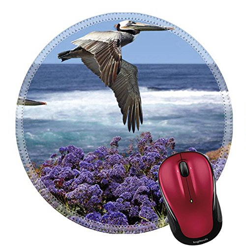 Liili Round Mouse Pad Natural Rubber Mousepad IMAGE ID: 19938313 Two California Brown Pelicans In Flight Soaring Over Pacific Coast Sea Waves Pelecanus occidentalis Ocean Surf With Spring Sea - California Images Adventure