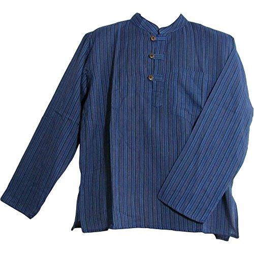 Hippie Tunic Shirt (Bohemian Yoga Hippie Cotton Mandarin Collar Long Sleeve Shirt Kurta Tunic SURESH (Small/Medium, #5 Striped)