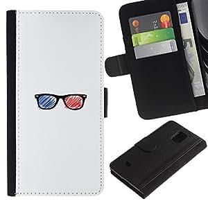 LECELL--Cuero de la tarjeta la carpeta del tirón Smartphone Slots Protección Holder For Samsung Galaxy S5 Mini, SM-G800 -- Gafas 3D --