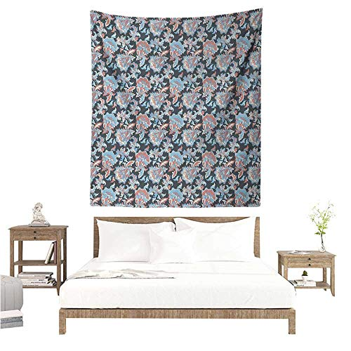 (WilliamsDecor Bedroom Tapestry Floral Victorian Retro Renaissance Blooms with Folk Batik Arabian Influences 70W x 84L INCH Suitable for Bedroom Living Room Dormitory)