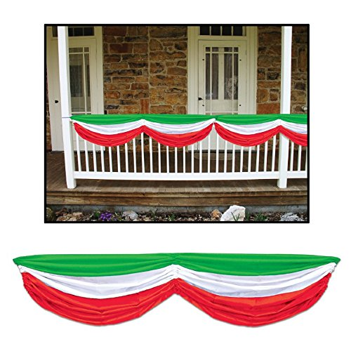 Pack of 6 Green, White and Red Italian Festival Fabric Bunting Hanging Decorations 70