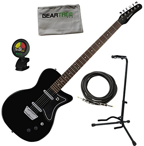 Black Baritone Guitar (Danelectro 56 Baritone Electric Guitar Black w/ Stand, Cable, Tuner, and Cloth)