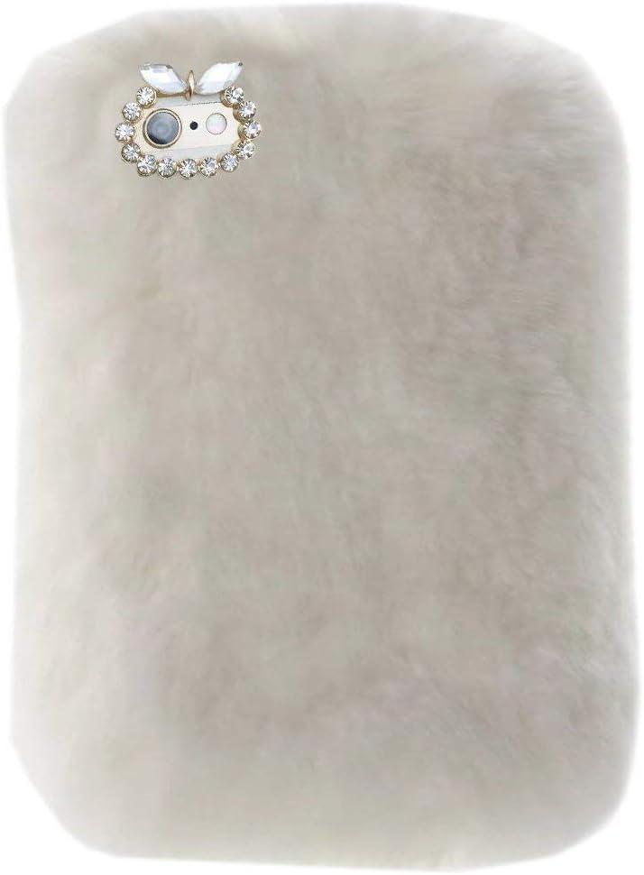 for Lenovo Tab E8 Tablet Cover, Winter Fashion Bling Rhinestone Fuzzy Faux Rabbit Furry Fluffy Beaver Rex Rabbit Fur Protective Case for Lenovo Tab E8 TB-8304F 8.0 Inch 2018(White)