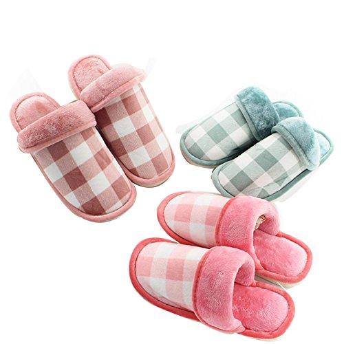 DANDANJIE Pantuflas de otoño e Invierno Pantuflas y Chanclas de algodón Femenino Mobiliario Lattice Home Indoor Zapatos caseros Bean paste red