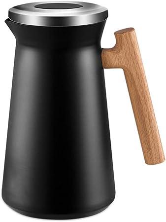 Termos Para Cafe 2 Litro Jarra cafetera/leche De Acero Inoxidable De 12-24 Horas termo cafe Con Mango De Maderatermos Para Cafe Té Bebidas,Negro: Amazon.es: Hogar