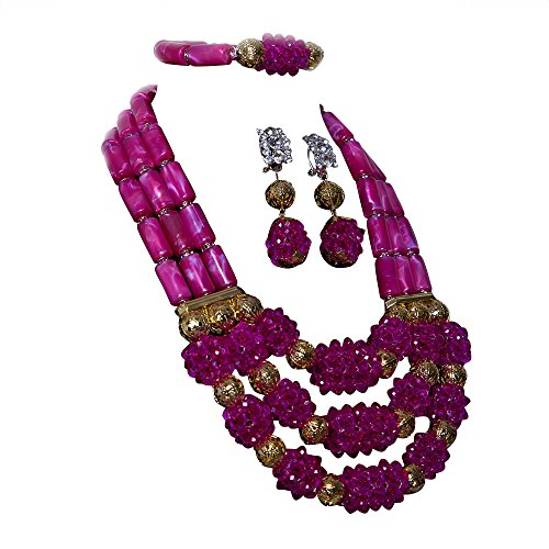 AMYNOVA bridal wedding jewelry African Wine Red Ball Beaded Coral Set African Bridal Necklace Earring Bracelet Earrings Set