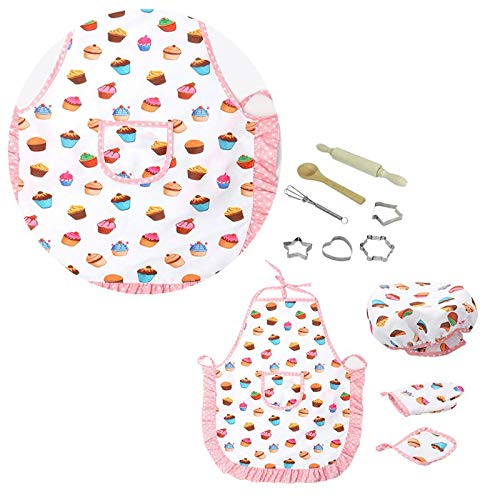 Aprons for Kids 1Set Adorable Nontoxic Waterproof Durable Kitchenware Baking Tools Chef Set for Kids Children Girls Indoor Outside