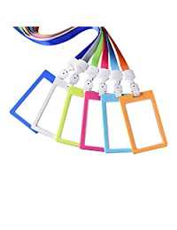 Zhi Jin Colors Vertical ID Badge Holder with Lanyard Credit Card Sleeves Protectors Organizer Case Neck Strap Office School Pack of 6 Mixed Color