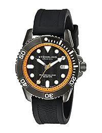 Stuhrling Original Men's 328R.335657 Aquadiver Regatta Atlantis Sport Divers Swiss Quartz Date Black Silicone Rubber Strap Watch