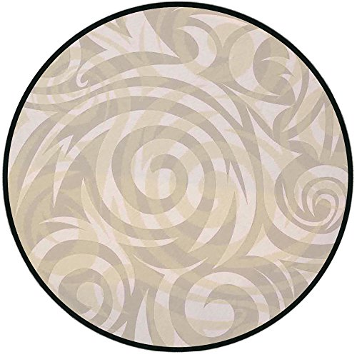 (Printing Round Rug,Modern Art,Vintage Swirling Floral Design with Authentic Faded Colors Natural Effects Mat Non-Slip Soft Entrance Mat Door Floor Rug Area Rug for Chair Living Room,Khaki Beige)