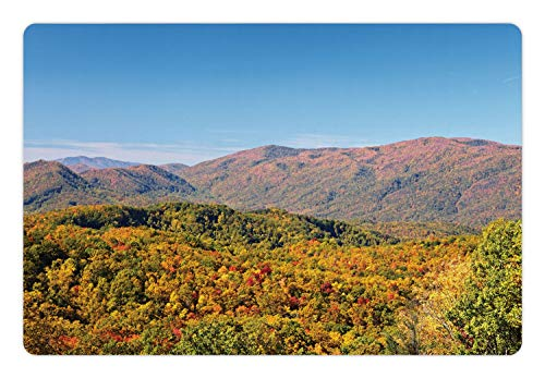 Ambesonne Appalachian Pet Mat for Food and Water, Daytime Photo of Woodland in Amazing Fall Colors in Smoky Mountains Tennessee, Rectangle Non-Slip Rubber Mat for Dogs and Cats, - Fall Mountain Cabin