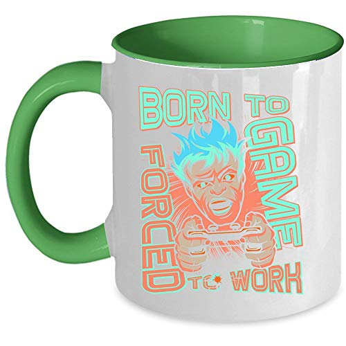 Cool Gaming Coffee Mug, Born To Game Forced To Work Mug, I Love Game Accent Mug, Unique Gift Idea for Women (Accent Mug - Green) ()