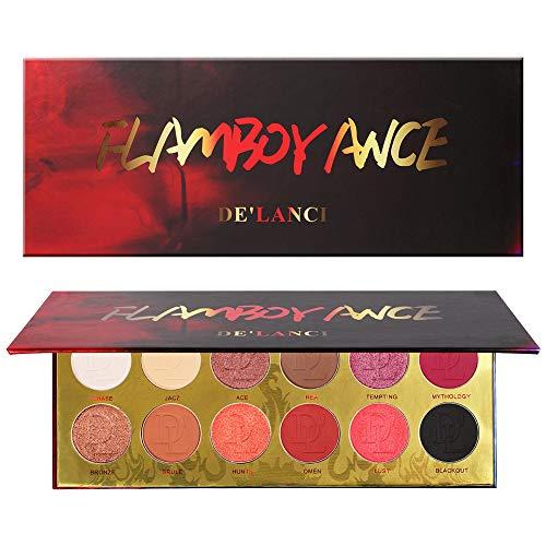 Red Eyeshadow Palette,DE'LANCI 6 Matte + 6 Shimmer Makeup Pallet - 12 Colors Highly Pigmented Matte Shimmer Long Lasting Eye Shadow Powder Makeup Kit (FLAMBOYANC) -