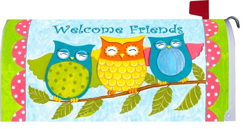 """ Welcome Friends Owls "" - Decorative Mailbox Makeover - Rural Size Mailbox Magnetic Cover"
