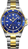 Fanmis Blue Dial Ceramic Bezel Sapphire Glass Luminous Quartz Silver Gold Two Tone Stainless Steel Watch