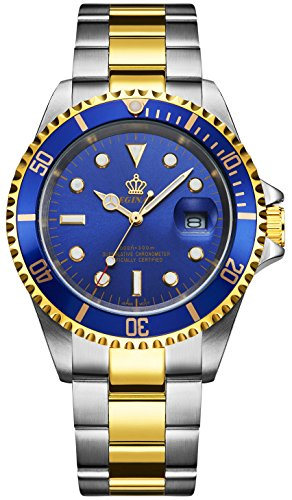 Fanmis Blue Dial Ceramic Bezel Sapphire Glass Luminous Quartz Silver Gold Two (Gold Bezel Watch)