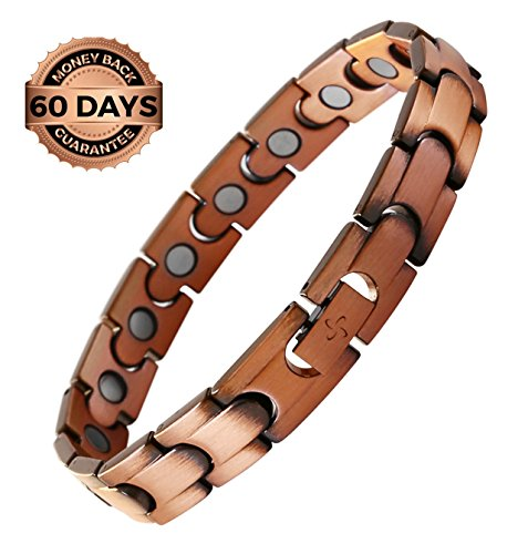 Reevaria Mens Elegant GUARANTEED 99.9% PURE Copper Magnetic Therapy Bracelet Pain Relief for Arthritis and Carpal Tunnel, 3500 Gauss Links