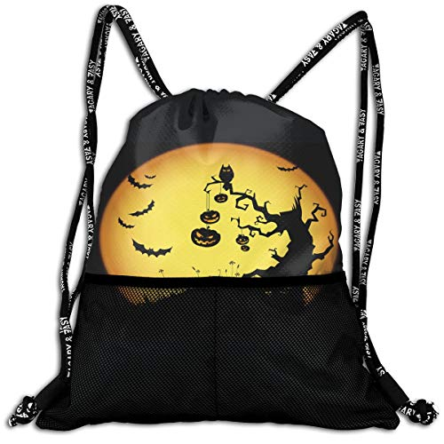 Halloween Backgrounds Drawstring Backpack Bundle Pocket Outdoor Daypack Gym Bag -