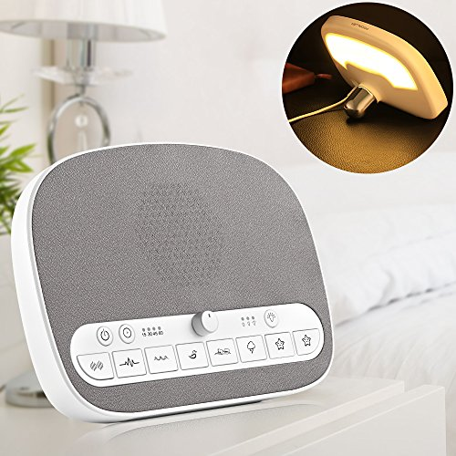 White Noise Machine, Sleep Sound Machine with 8 Soothing Natural Sounds - LED Night Light, Timer and USB Charging Port - Relax For Baby, Adult, Soothing Sound Helps Sleep Easily and Deep by PROALLER