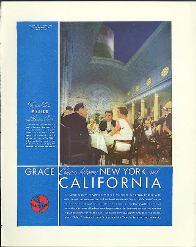 Grace Line Cruises between New York & California via Panama Canal ad 1935 (Best Cruise Line For Panama Canal)