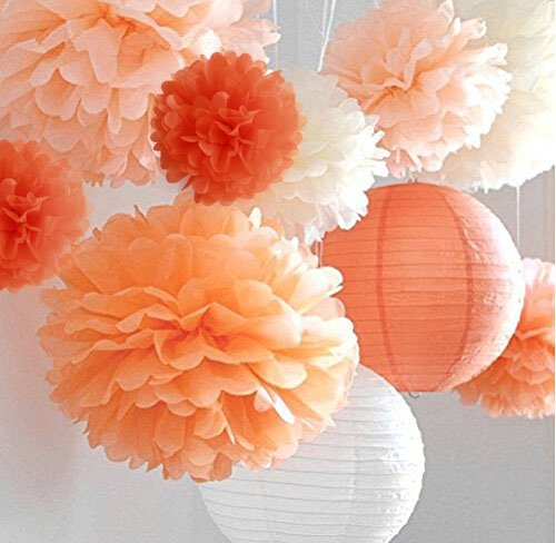 Life Glow Pom Poms 12Pcs of 10'' 12'' 14'' Multi-Colors Tissue Paper Craft Pom Poms Flowers Wedding Party Decor by Life Glow