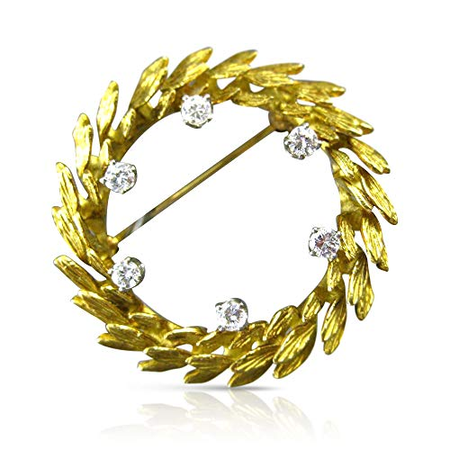 - Milano Jewelers .50CT Diamond 18KT Two Tone Gold 3D Circle Wreath Leaf PIN Brooch #18286