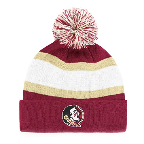 NCAA Florida State Seminoles Adult NCAA Rush Down Ots Cuff Knit Cap with Pom, One Size, Cardinal