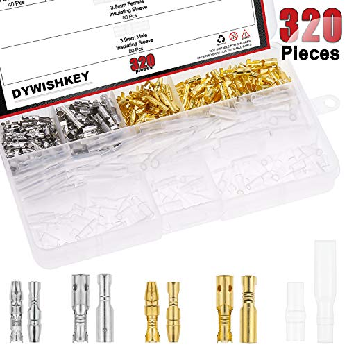 DYWISHKEY 320Pieces 3.9mm Brass Male and Female Bullet Terminals Wire Connector Block with Insulating Sleeves for Car Truck Motorcycle Bike ()