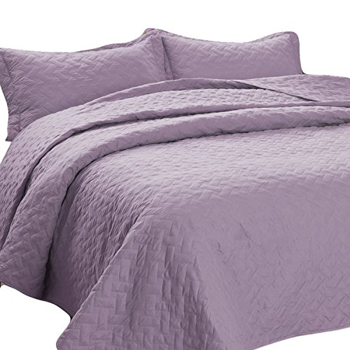 Bedsure 3-Piece Bedding Quilt Set Lavender King Size 106x96 Bedspread utilizing 2 Pillow Shams Pattern fluffy Microfiber Coverlet Set