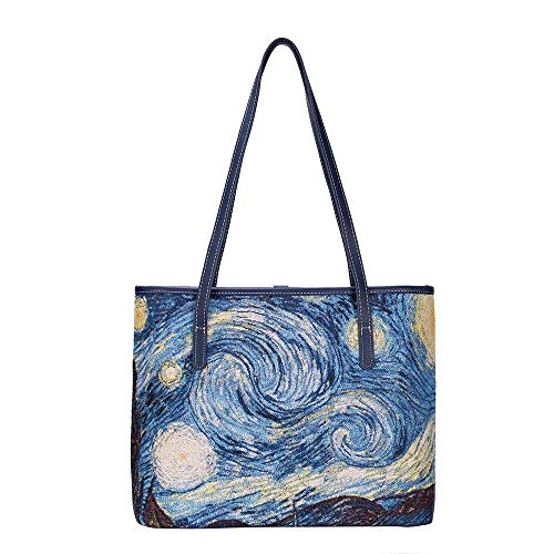 (Signare Tapestry Vincent Van Gogh Starry Night Fashion Tote Bag (COLL-ART-VG-STAR))
