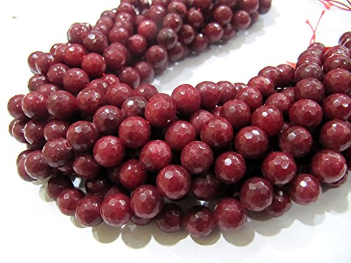 Exclusive Quality Natural Ruby Jade Round Faceted Beads, Size 10mm available, sold per string 15 inches Long, 39 Beads Approx, Hole 1mm