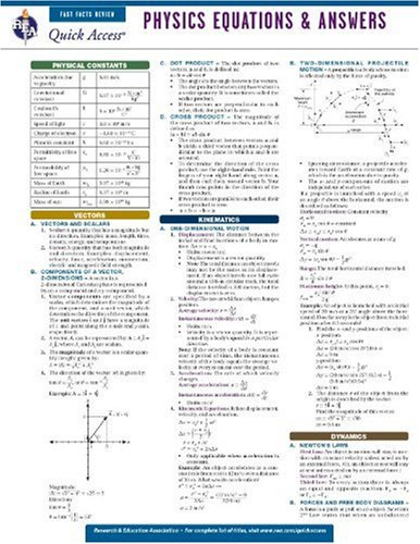 Physics Equations and Answers - REA's Quick Access Reference Chart (Quick Access Reference Charts) (Formula Physic)