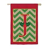 Chevron Stripe Burlap Holly Monogram J House Flag Review