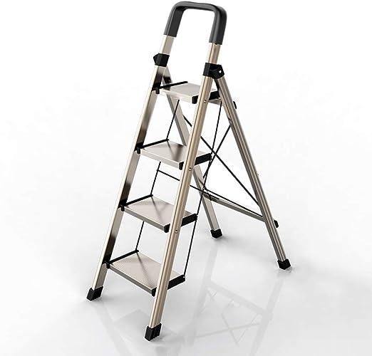 ZHAO YING Escalera de Aluminio Escalera Plegable para el hogar Escalera de Engrosamiento Escalera multifunción Interior Escalera pequeña de Cuatro Pasos de Cuatro Pasos (Color : Gold, Size : L): Amazon.es: Hogar