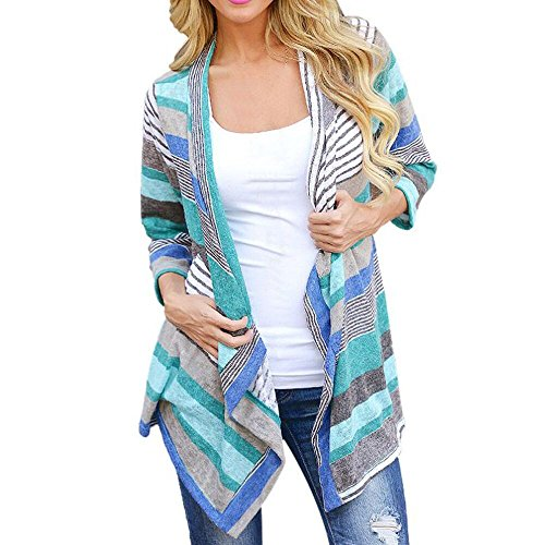 Flat Tag Pendant Link (Gillberry Women Irregular Stripe Shawl Kimono Cardigan Tops Cover Up Blouse)