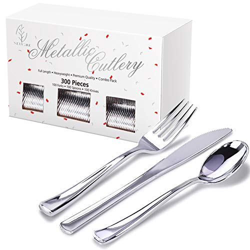 300 Piece Silver Plastic Silverware Set, Heavyweight Silver Cutlery, Disposable Flatware (100 Forks,100 Knives,100 Spoons) Perfect for Parties, Weddings & Catering -