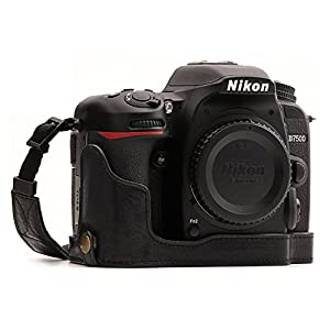 MegaGear Ever Ready Genuine Leather Camera Half Case Compatible with Nikon D7500