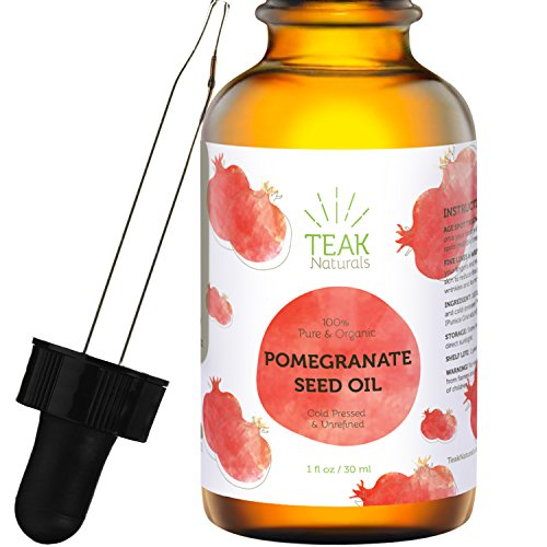 POMEGRANATE SEED OIL by Teak Naturals - 100% Organic, Cold Pressed, Unrefined - 1 (Organic Pomegranate Oil)