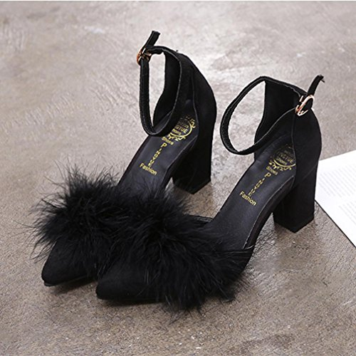 Voberry Fashion Summer Women Plush Shoes Pointed Pumps Shoes High Heels Boat Casual Shoes Wedding Dress Shoes Evening Party Prom Sandals Black 3ACwl