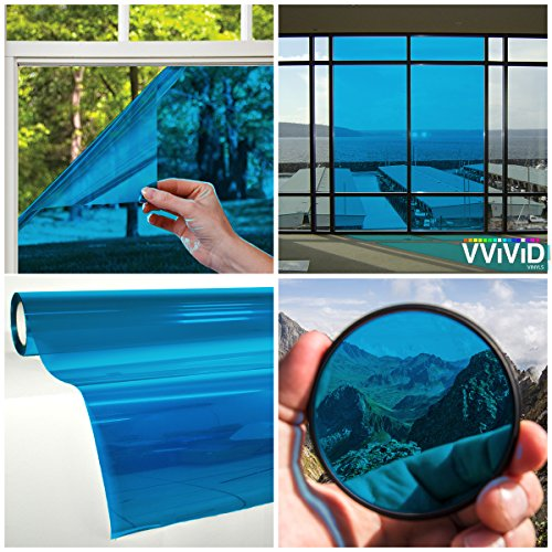 VViViD Transparent Colorful Vinyl Window Tinting Sheets (1.49ft x 5ft, Blue) ()