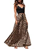 Imysty Womens Leopard Print Long Skirts Drawstring High Waisted Bohemian Maxi Skirt