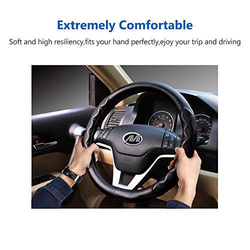 (Noeler Car Leather Steering Wheel Cover, Odorless Luxury Breathable Auto Steering Wheel Cover with Elegant Design, Anti-Slip, Universal 15 inch-Black , Four Seasons General Wheel Sleeve Prot)