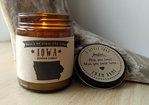 Iowa Scented Candle Missing Home Homesick Gift Moving Gift New Home Gift No Place Like Home State Candle Thinking of You Valentines Day Gift