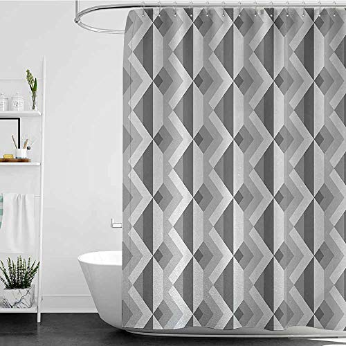 SKDSArts Shower Curtains Liner for Bathroom Grey,Triangles with Parallel Lines in Dark and Retro Minimalist Pattern Work of Art Print,Ash Shadow,W69 x L90,Shower Curtain for Shower stall