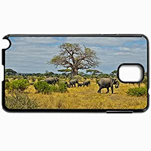 Personalized Protective Hardshell Back Hardcover For Samsung Note 3, Africa Savannah Elephants Herd Residents Design In Black Case Color