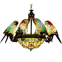 FUMAT Parrot Tiffany Chandeliers 6 Heads Color Glass Pendant Lamps Bedroom Ceiling Fixtures